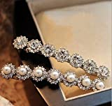 Blingys Sparkling Crystal Line Rhinestone Shape Jewelry Hair Clip/Side Clip/Hairpin/Bobby Pin (2 Piece Combo Set) With Blingys Bag