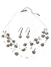 M&S Collection Pearl Effect Scatter Necklace & Earrings Set