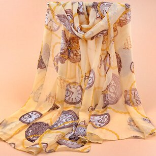 Best Autumn Winter American Europe Hottest Women Fashion Luxury Clock Chiffon Voile Warm Soft Scarf Shawl Cape (Wy-012)