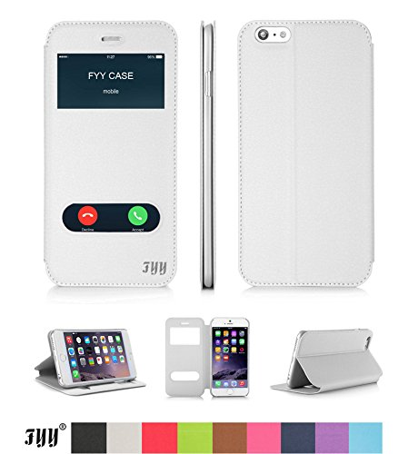 iPhone6ケース,Fyy® 100%手作り 超薄型 軽量 横開き 手帳型 窓付き ウィンドウ フリップ スマートケース スタンド機能付き 良質PUレザーケース[全9色]ホワイト