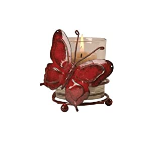 Wilco Imports Glass Votive Holder with a Shinny Red Metal Butterfly, 4-Inch by 3-1/4-Inch by 4-3/4-Inch