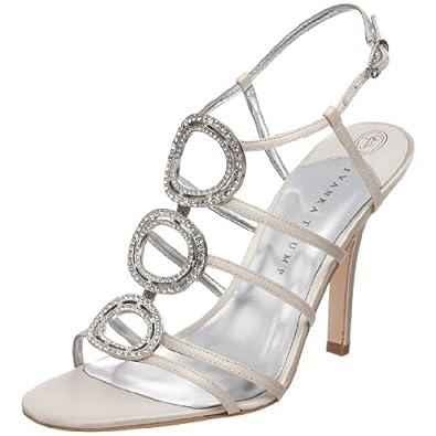Ivanka Trump Women's Asteria Black Satin Ornamented T Strap Sandal,Ivory Satin,5.5 M US