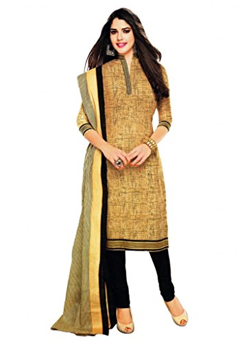 Salwar Studio Womens Cotton Unstitched Salwar Suit Dress Material (Sp-222 _Yellow & Black _Free Size)