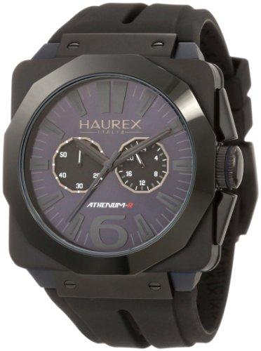 Haurex italy men s 3n372unb athenum black ip and blue aluminum chronograph watch watches for Haurex watches