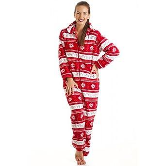 9d45f41d4278 Camille Nordic Damen Schlafanzug Einteiler mit Kapuze Fleece