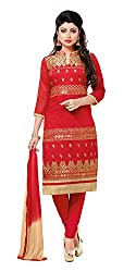 Jinal Fashion women's Cotton Unsitched dress material (Red_color)