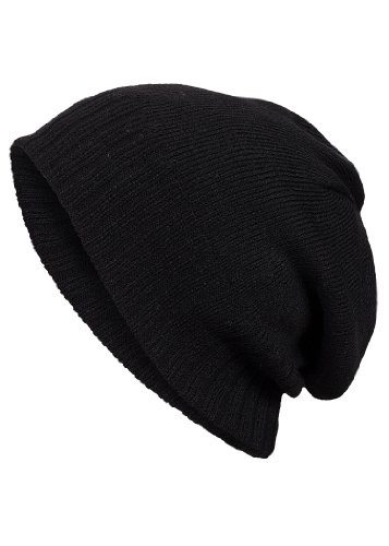 Eight2Nine Herren Ribbed Beanie Melange mit Ripp Blende schwarz