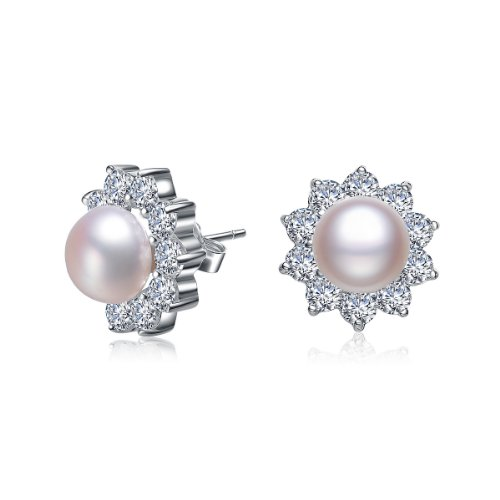 Flower Style Sterling 925 Silver Stud Earrings with Round Pearl Center & CZ Diamonds Outline - Incl. ClassicDiamondHouse Free Gift Box & Cleaning Cloth