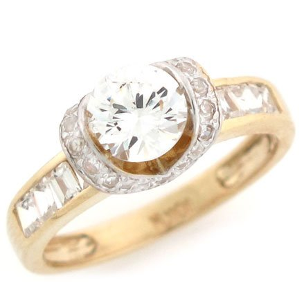 10K Solid Yellow Gold Round Brilliant CZ Promise Ring