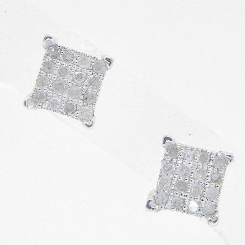 Mens 925 Sterling Silver earrings fancy stud hoops huggie ball fashion dangle white small pave earrings