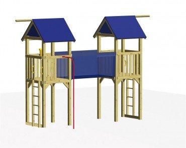 Winnetoo Spielturm Set 4 - Stelzenhaus mit 3 Türmen und Hängebrücke