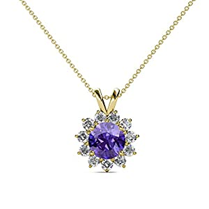 Iolite and Diamond Floral Halo Pendant 1.28 ct tw in 14K Yellow Gold with 18 Inches 14K Gold Chain