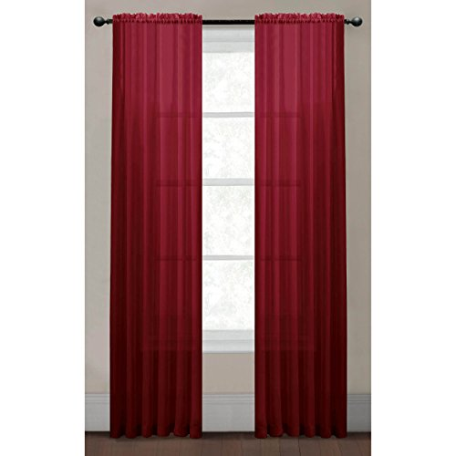 Window Elements Solid Voile Sheer Extra Wide 55 X 63 In. Rod Pocket Curtain Panel, Burgundy back-584742