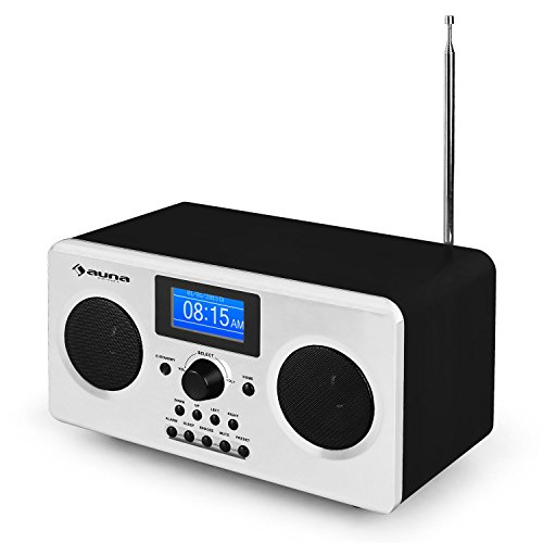 auna Quarz 150 interner radio altorparlanti stereo integrati (bluetooth, Wi-fi, MP3, radiosveglia, casse bassreflex) - bianca
