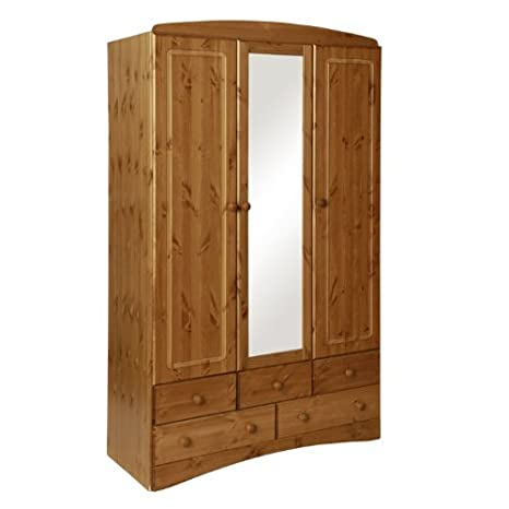 FTG Scandi 3 Door, 5 Drawer Wardrobe With Mirror In Pine