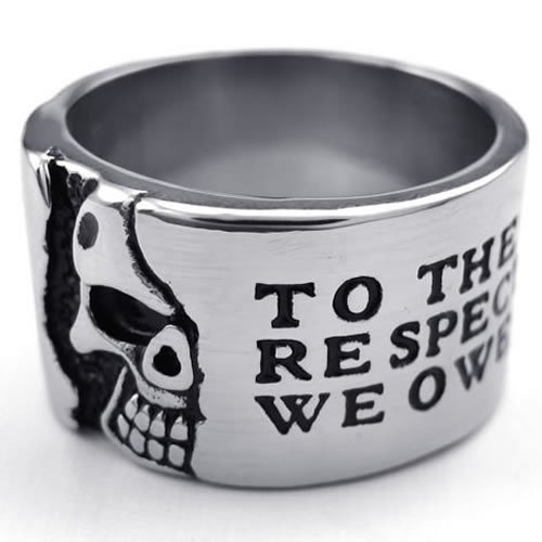 Kalendone Mens Stainless Steel Ring,Punk Ring Skull,Black Silver Size US 10,Stainless Steel Ring