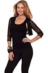 Women's Formal Cocktail Sheer Chiffon Open Collar 3/4 Sleeve Cropped Shrug