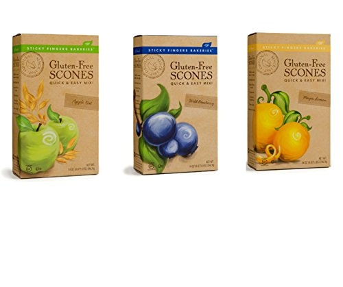 Sticky Fingers Gluten-Free Scone Mix Bundle with Wild Blueberry, Meyer Lemon and Apple Oat Scone Mix (Lemon Waffle Mix compare prices)