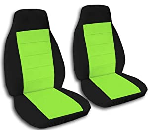 2 Front seat covers. Black and Lime Green seat covers for a 2007 Chevy HHR with armrets. Side airbag friendly