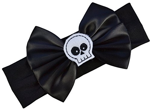 Satin Bow and Felt Skull Baby Headband From Funny Girl Designs - Fits Newborn to 12 Months (Black Bow with White Skull)