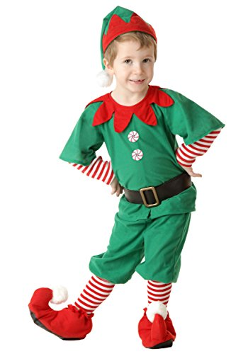 [Fun Costumes unisex-child Little Boys' Toddler Happy Christmas Elf Costume 4T] (Peppermint Costumes)