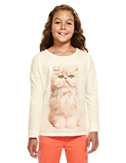 Autograph Pure Cotton Cat Print Top
