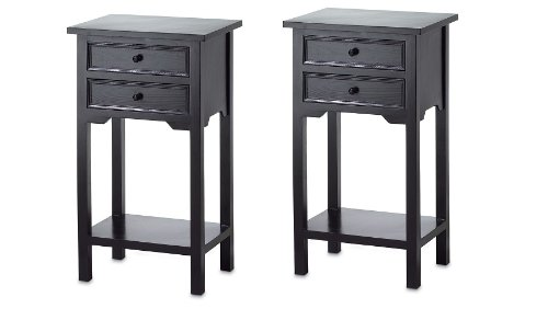 Read About 2 Nightstands Black Wood Two Drawer and Shelf Side Table