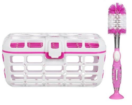 Munchkin Deluxe Dishwasher Basket And Soap Dispensing Bottle Brush Set, Pink front-440291