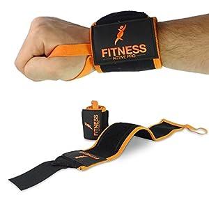 FLASH PROMO - Protège-poignet (Lot de 2) - Protège Poignets Wrist Wraps FITNESS ACTIVE PRO - Coutures SPÉCIALES doublées Velcro et Scratch PREMIUM - Anse de Pouce Confortable - Robuste et haute qualité - Garantie ANTI CRAQUAGE assurée - Attèle poignet pour musculation ou crossfit