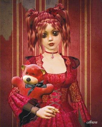 Bloody Angel Aura Cute Teddy Bear Goth Fantasy Art Poster 16 x 20 inches