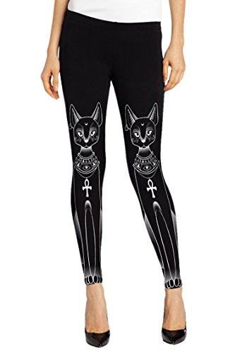 Cocoleggings Woman's Black Abstract Cat Printed Skinny Leggings WorkOut Tights