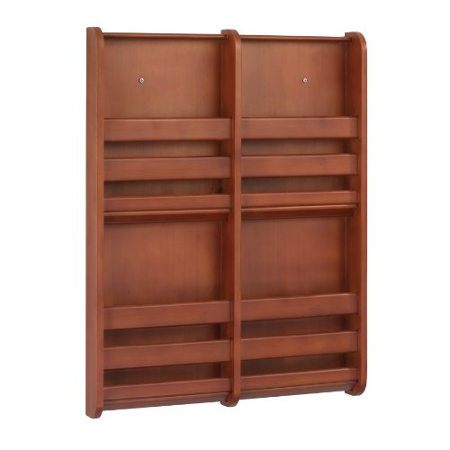 Safco Bamboo Magazine/Pamphlet Wall Display, 19-1/2W X 1-3/4D X 25-1/2H Inches, Cherry (4623Cy)