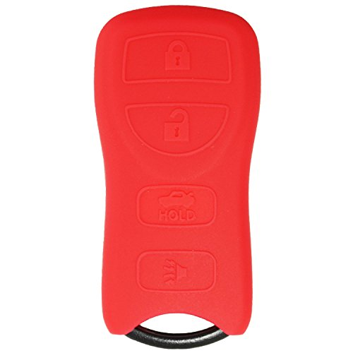 QualityKeylessPlus RED Rubber Case Silicone Protective Cover for Nissan Remotes with Free KEYTAG (06 Nissan Sentra Keyless Entry compare prices)