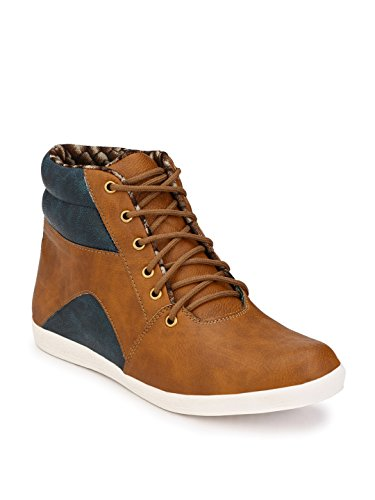 Wave Walk Men Trendy Synthetic Leather Tan Boots  available at amazon for Rs.599
