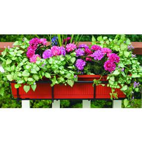 Flower box holder adjusts to fit almost any size railing