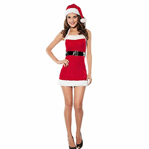 L04BABY Hat Belt Sexy Santa Mini Lingerie Costume Red Black