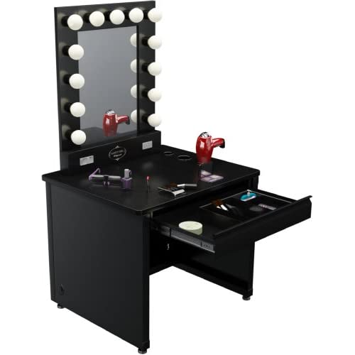lighted vanity desk 36 39 39 x 30 black frame black surface. Black Bedroom Furniture Sets. Home Design Ideas