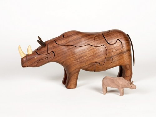 Cheap Class Menagerie Wooden 3-D Puzzle – Rhinoceros with Baby Rhino Inside, Walnut (B002GD82B8)