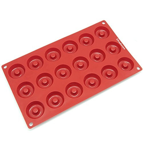 Freshware SM-102RD 18-Cavity Silicone Mini Savarin and Donut Chocolate, Candy and Gummy Mold