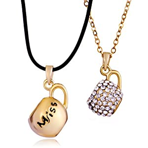 Pugster 2 Pieces of Miss Smooth Clear Crystal Couple Teacup Gold Pendant