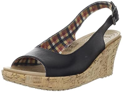 Crocs Women's A-Leigh Wedge Sandal,Black,4 M US