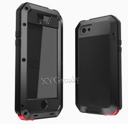 HOT Luxury Aluminum Metal Extreme Shockproof Dirt/Dust Proof Military Heavy Duty Gorilla Glass Cover Case for Apple iPhone 5 Black @XYG