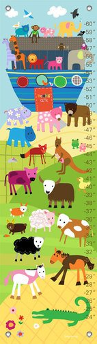 Oopsy Daisy Growth Charts Noah's Ark and Animals by Lesley Grainger, 12 by 42-Inch