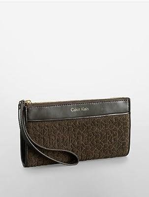 Calvin Klein Brynn Suede Faux Leather Wristlet Wallet