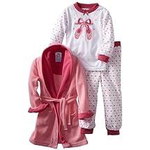 Baby Bunz Little Girls'  Ballet 3 Piece  Pajama Set, Pink, 5