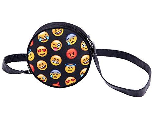 Borsa rotonda a tracolla con motivi divertenti. Borsetta con chiusura zip. Moderno lyfestyle trend zaino donne design, Tasche HT-01-36:HT-014 Emoticons
