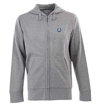 NFL Men's Indianapolis Colts Full Zip Signature Hooded Sweatshirt (Greyheather, Small)
