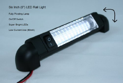 "Led Bar Light - Pivoting, Water Resistant 12 Volt Dc Led Courtesy Convenience Lamp, 6"" With On/Off Switch"