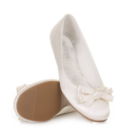 Womens Satin Ivory Wedding Bridal Flat Shoes SIZE 3-8