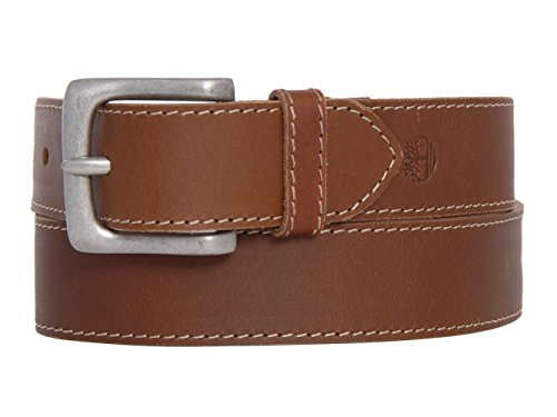 Timberland Mens Genuine Leather Stitch Strap Metal Buckle Brown Belt Size 34